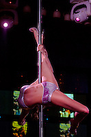 Eniko Veres performs during the Miss Poledance Hungary 2011 competition in Budapest, Hungary on September 03, 2011. ATTILA VOLGYI