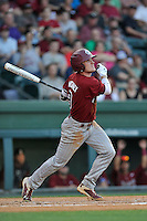 Marcus Mooney (8) of the South Carolina Gamecocks bats in a game against the Furman Paladins on Wednesday, April 20, 2016, at Fluor Field at the West End in Greenville, South Carolina. (Tom Priddy/Four Seam Images)