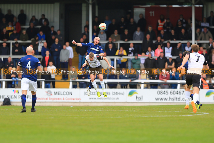 John Mills of Hereford FC is out-jumped by Stuart Bridges of Royston Town during Hereford FC vs Royston Town, Champion Of Champions Match Football at Edgar Street on 29th April 2017