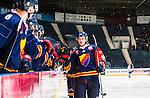 Stockholm 2014-08-21 Ishockey CHL Djurg&aring;rdens IF - Fribourg-Gotteron  :  <br /> Djurg&aring;rdens Marcus H&ouml;gstr&ouml;m firar sitt 4-3 m&aring;l med lagkamrater<br /> (Foto: Kenta J&ouml;nsson) Nyckelord:  Djurg&aring;rden Hockey Hovet CHL Fribourg Gotteron jubel gl&auml;dje lycka glad happy