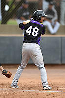 Colorado Rockies second baseman Jonathan Piron (48) during an Instructional League game against the Arizona Diamondbacks on October 8, 2014 at Salt River Fields at Talking Stick in Scottsdale, Arizona.  (Mike Janes/Four Seam Images)