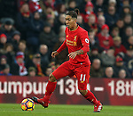 Roberto Firmino of Liverpool during the Premier League match at the Anfield Stadium, Liverpool. Picture date: November 26th, 2016. Pic Simon Bellis/Sportimage