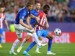 Atletico de Madrid's Thomas Partey (r) and Leicester City FC's Robert Huth during Champions League 2016/2017 Quarter-finals 1st leg match. April 12,2017. (ALTERPHOTOS/Acero)