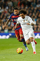 Real Madrid´s Marcelo Vieira (R) and Barcelona´s Dani Alves during 2015-16 La Liga match between Real Madrid and Barcelona at Santiago Bernabeu stadium in Madrid, Spain. November 21, 2015. (ALTERPHOTOS/Victor Blanco) /NortePhoto