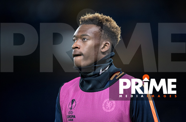 Callum Hudson-Odoi of Chelsea pre match during the UEFA Europa League match between Chelsea and PAOK at Stamford Bridge, London, England on 29 November 2018. Photo by Andy Rowland.