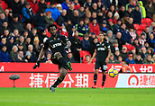 2nd December 2017, bet365 Stadium, Stoke-on-Trent, England; EPL Premier League football, Stoke City versus Swansea City; Wilfried Bony of Swansea City moves the ball across the field