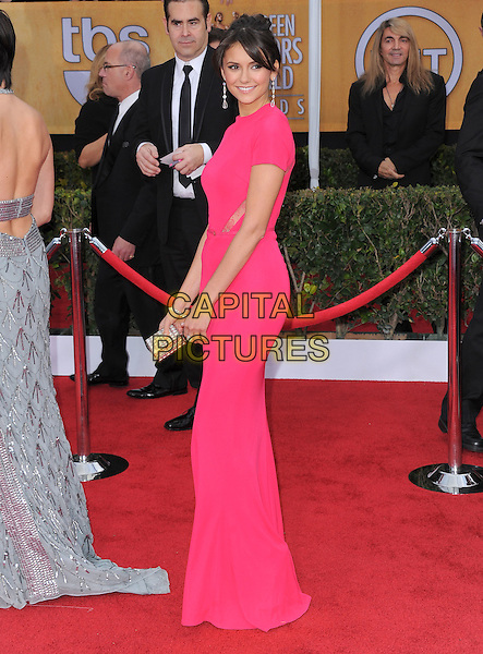 Nina Dobrev.Arrivals at the 19th Annual Screen Actors Guild Awards at the Shrine Auditorium in Los Angeles, California, USA..27th January 2013.SAG SAGs full length dress pink side.CAP/DVS.©DVS/Capital Pictures.