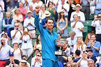 Rafael Nadal of Spain with the trophy after winning during Day 15 (Men's Final Day) of the French Open 2018 on June 10, 2018 in Paris, France. (Photo by Dave Winter/Icon Sport)