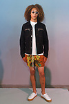 Models poses in an outfit from the You As Spring Summer 2018 collection, at Skylight Clarkson Square on July 13, 2017; during New York Fashion Week: Men's Spring Summer 2018.