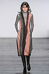 """Model Lary walks runway in an ultra suede panel midi dress, from the Vivienne Tam Fall Winter 2016 """"Cultural Dreamland The New Silk Road"""" collection, presented at NYFW: The Shows Fall 2016, during New York Fashion Week Fall 2016."""