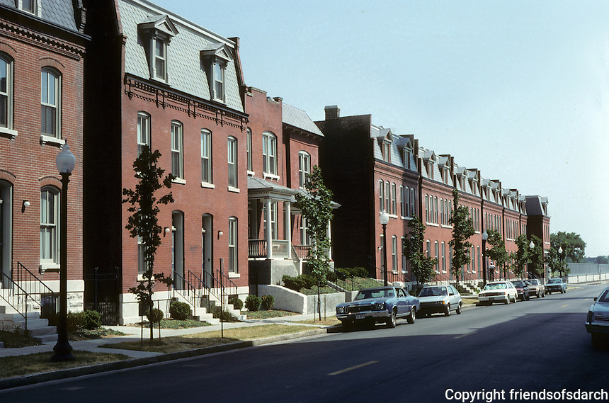 St. Louis: Restored row houses on 20th at Madison, across from Old Falstaff Brewery.