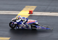 Jul. 20, 2014; Morrison, CO, USA; NHRA pro stock motorcycle rider Hector Arana Jr during the Mile High Nationals at Bandimere Speedway. Mandatory Credit: Mark J. Rebilas-