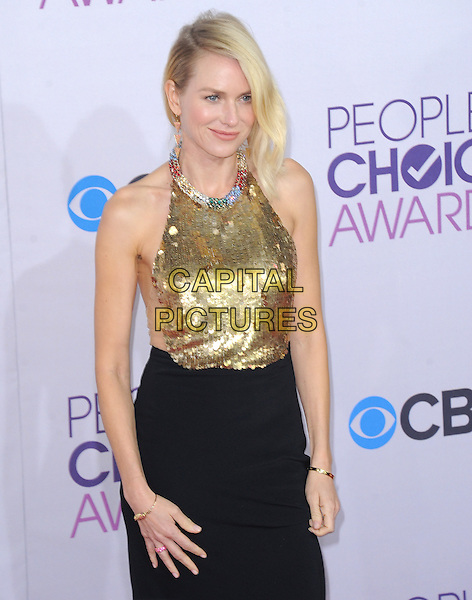 Naomi Watts.The 2013 People's Choice Awards held at Nokia Live in Los Angeles, California 9th January 2013                                                                   .half length gold sleeveless sequins sequined collar embellished jewel encrusted top skirt black halterneck .CAP/DVS.©DVS/Capital Pictures.