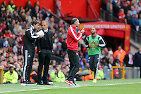 "Pictured L-R: Josep ""Pep"" Clotetm, manager Garry Monk of Swansea and Ryan Giggs of Manchester United.  Saturday 16 August 2014<br />