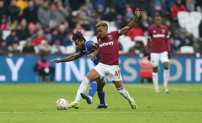 West Ham United's Grady Diangana and Birmingham City's Jacques Maghoma<br /> <br /> Photographer Rob Newell/CameraSport<br /> <br /> Emirates FA Cup Third Round - West Ham United v Birmingham City - Saturday 5th January 2019 - London Stadium - London<br />  <br /> World Copyright © 2019 CameraSport. All rights reserved. 43 Linden Ave. Countesthorpe. Leicester. England. LE8 5PG - Tel: +44 (0) 116 277 4147 - admin@camerasport.com - www.camerasport.com