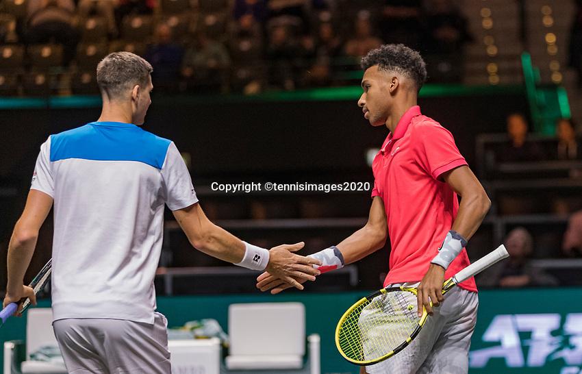Rotterdam, The Netherlands, 9 Februari 2020, ABNAMRO World Tennis Tournament, Ahoy, Doubles: Felix Auger-Aliassime (CAN) and Hubert Hurkacz (POL)<br /> Photo: www.tennisimages.com