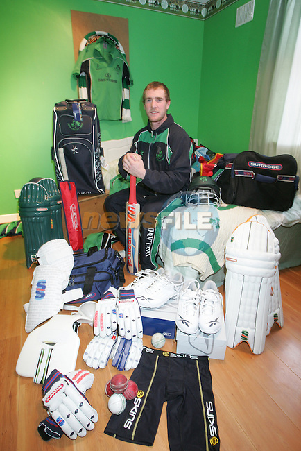 John Maloney at hone outside Balbriggan Co Dublin getting ready before he and the rest of the Irish Cricket team fly out of Dublin to Dubai..Photo: Fran Caffrey/ Newsfile.<br />