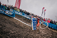 Laurens Sweeck (BEL/Pauwels Sauzen Vastgoedservice) slinging his bike around the corner<br /> <br /> men's race<br /> Soudal Jaarmarktcross Niel 2018 (BEL)