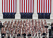 "The Mormon Tabernacle Choir sings ""America the Beautiful"" during the Inauguration Ceremony of President Donald Trump on the West Front of the U.S. Capitol on January 20, 2017 in Washington, D.C.  Trump became the 45th President of the United States.      <br /> Credit: Pat Benic / Pool via CNP"