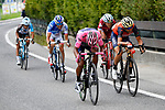 Nairo Quintana (COL) Movistar Team Maglia Rosa, Ilnur Zakarin (RUS) Katusha Alpecin, Vincenzo Nibali (ITA) Bahrain-Merida, Thibaut Pinot (FRA) FDJ and Domenico Pozzovivo (ITA) AG2R La Mondiale during Stage 20 of the 100th edition of the Giro d'Italia 2017, running 190km from Pordenone to Asiago, Italy. 27th May 2017.<br /> Picture: LaPresse/Fabio Ferrari | Cyclefile<br /> <br /> <br /> All photos usage must carry mandatory copyright credit (&copy; Cyclefile | LaPresse/Fabio Ferrari)
