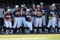 SAN ANTONIO, TX - FEBRUARY 15, 2014: The Saint Peter's University Peacocks versus the University of Texas at San Antonio Roadrunners Baseball at Roadrunner Field. (Photo by Jeff Huehn)