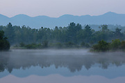 Foggy morning at Coffin Pond in Sugar Hill, New Hampshire USA