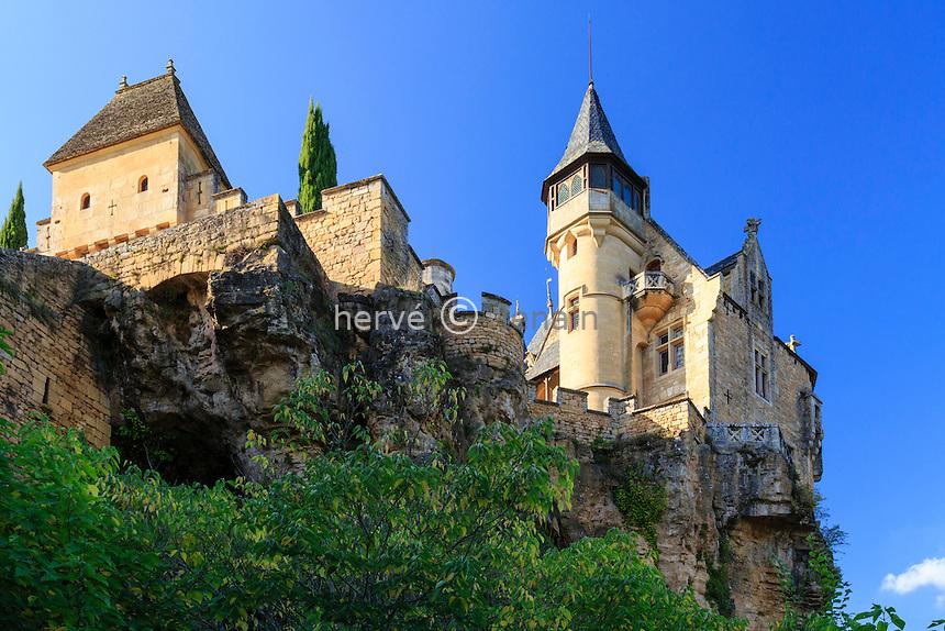 France, Dordogne (24), Vitrac, château de Monfort // France, Dordogne, Vitrac, castle of Montfort