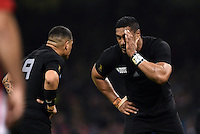Jerome Kaino of New Zealand has a word with team-mate Aaron Smith. Rugby World Cup Pool C match between New Zealand and Georgia on October 2, 2015 at the Millennium Stadium in Cardiff, Wales. Photo by: Patrick Khachfe / Onside Images
