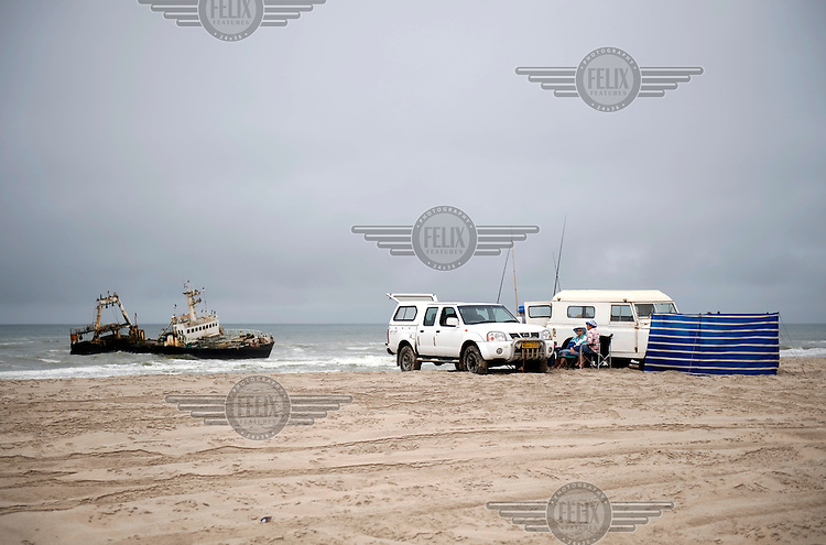 A tourist camp by a shipwreck near Henties Bay in the Skeleton Coast Park.