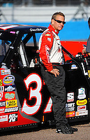Nov. 13, 2009; Avondale, AZ, USA; NASCAR Camping World Truck Series driver Robbie Brand during qualifying prior to the Lucas Oil 150 at Phoenix International Raceway. Mandatory Credit: Mark J. Rebilas-