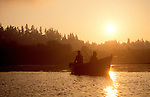 Columbia River, salmon fishermen at dawn, Lewis River confluence, Cathlamet, Puget Island, WWRP site, Washington State, Pacific Northwest, USA, .
