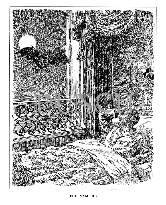 The Vampire. (a Vampire Bat with Swastika on his chest flies in through the bedroom window to suck the blood of King Carol II of Romania)