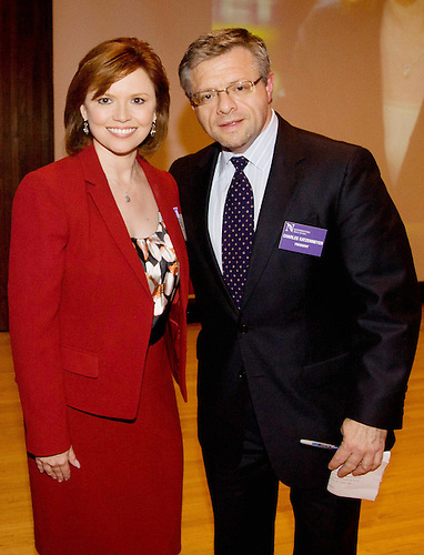 April 14, 2012; Evanston, IL, USA; NBC News political correspondent Kelly O'Donnell (SESP '87) poses with NAA president Charles Katzenmeyer after the 2012 A Day With Northwestern at the Norris Center.  Photo By: Jerry Lai (WCAS '04)