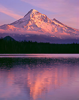 ORCAN_022 - USA, Oregon, Mount Hood National Forest,  Sunset light reddens north side of Mount Hood with first snow of autumn above Lost Lake.