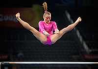 Aug. 7, 2008; Beijing, CHINA; Bridget Sloan (USA) performs on the uneven bars during womens gymnastics training prior to the Olympics at the National Indoor Stadium. Mandatory Credit: Mark J. Rebilas-