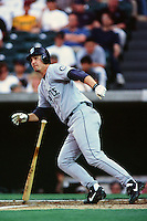 Dan Wilson of the Seattle Mariners during a game against the Anaheim Angels at Angel Stadium circa 1999 in Anaheim, California. (Larry Goren/Four Seam Images)