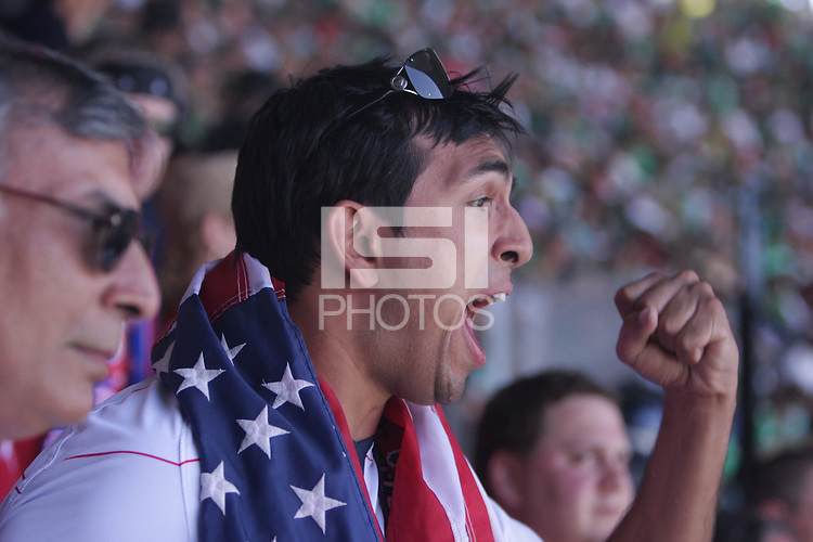 United States Men's National team fan Rishi Segal cheer during the game at Azteca stadium. The United States Men's National Team played Mexico in a CONCACAF World Cup Qualifier match at Azteca Stadium in, Mexico City, Mexico on Wednesday, August 12, 2009.