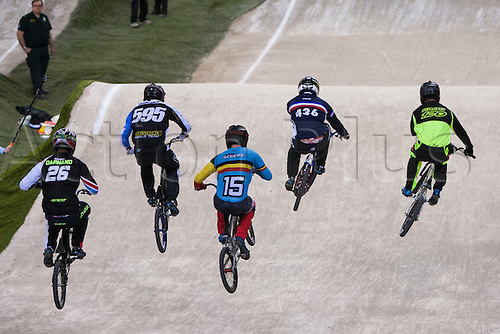 09.04.2016. National Cycling Centre, Manchester, England. UCI BMX Supercross World Cup Day 1. Simba Darnand, Gonzalo Molina, Wouter Segers, Amidou Mir and Vincent Pelluard in practice.
