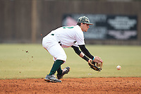 Charlotte 49ers shortstop Luke Gibbs (12) fields a ground ball during the game against the Akron Zips at Hayes Stadium on February 22, 2015 in Charlotte, North Carolina.  The Zips defeated the 49ers 5-4.  (Brian Westerholt/Four Seam Images)