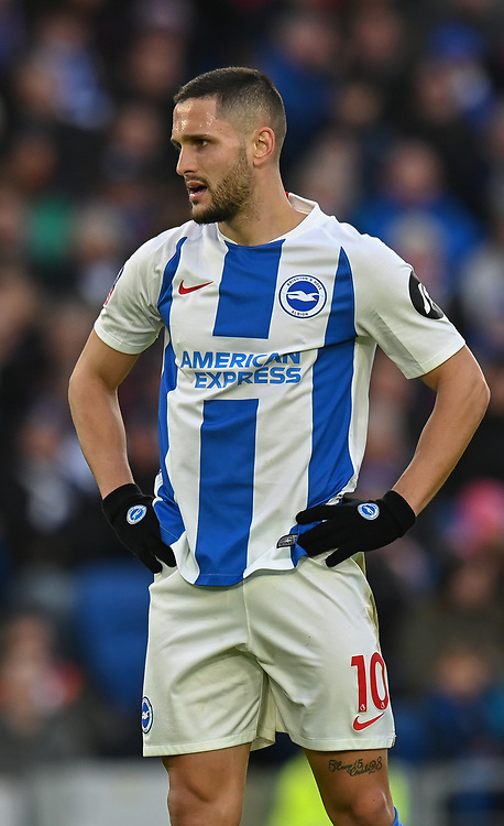 Brighton & Hove Albion's Florin Andone <br /> <br /> Photographer David Horton/CameraSport<br /> <br /> Emirates FA Cup Fourth Round - Brighton and Hove Albion v West Bromwich Albion - Saturday 26th January 2019 - The Amex Stadium - Brighton<br />  <br /> World Copyright © 2019 CameraSport. All rights reserved. 43 Linden Ave. Countesthorpe. Leicester. England. LE8 5PG - Tel: +44 (0) 116 277 4147 - admin@camerasport.com - www.camerasport.com