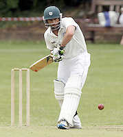 Ben Scott bats for Hampstead during the Middlesex County Cricket League Premier Division  game between Hampstead and North Middlesex at Lymington Road, Hampstead on Sat July 19, 2014