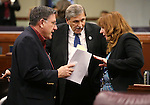 Nevada Assembly members, from left, PK O'Neill, John Ellison and Marilyn Kirkpatrick work on the Assembly floor at the Legislative Building in Carson City, Nev., on Sunday, May 31, 2015.  <br /> Photo by Cathleen Allison