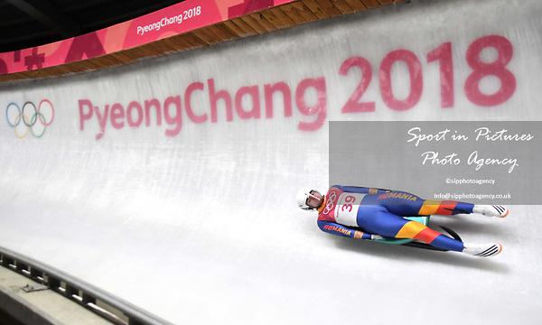 Andrei Turea (ROU). Mens luge. Pyeongchang2018 winter Olympics. Alpensia sliding centre. Alpensia. Gangneung. Republic of Korea. 11/02/2018. ~ MANDATORY CREDIT Garry Bowden/SIPPA - NO UNAUTHORISED USE - +44 7837 394578