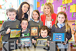 Cormac Daly, William Joy, Sian Deegan, Cathal lanigan Ryan and Jessica Flynn with teacher Catherine O'Shea and principal Moira Cronin, Cullina National School, Beaufort, who are now using Ipads in the school.