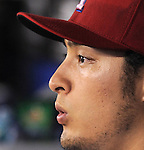 Yu Darvish (Rangers),<br /> APRIL 28, 2014 - MLB :<br /> Yu Darvish of the Texas Rangers in the dugout during the Major League Baseball game against the Oakland Athletics at Globe Life Park in Arlington in Arlington, Texas, United States. (Photo by AFLO)