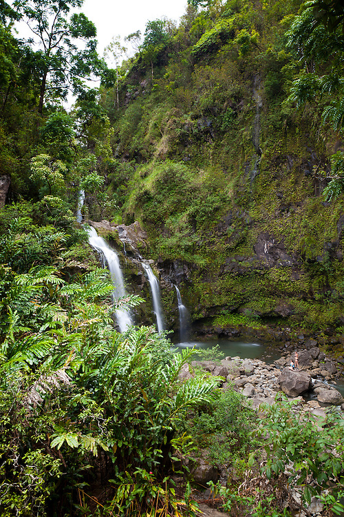 Upper Waikani Falls, otherwise known as the Three Bears falls, is between the 19 and 20 mile marker along the road to Hana.