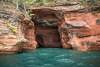 "Sea Caves on the Apostle Islands National Lakeshore near Bayfield Wisconsin.  This is know as the ""Garage"" the largest sea cave in the mainland sea caves."