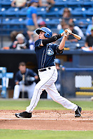 Asheville Tourists designated hitter Bobby Wernes (12) swings at a pitch during a game against the Rome Braves at McCormick Field on June 24, 2017 in Asheville, North Carolina. The Tourists defeated the Braves 6-5. (Tony Farlow/Four Seam Images)