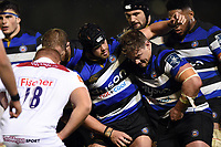 Michael van Vuuren and the rest of the Bath Rugby forwards pack down for a scrum. Anglo-Welsh Cup match, between Bath Rugby and Leicester Tigers on November 10, 2017 at the Recreation Ground in Bath, England. Photo by: Patrick Khachfe / Onside Images
