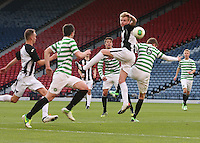 Blair Henderson beats Stuart Findlay in the air in the Dunfermline Athletic v Celtic Scottish Football Association Youth Cup Final match played at Hampden Park, Glasgow on 1.5.13.